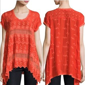 Johnny Was Embroidered Floral Tunic Top Crochet